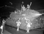 Rocket ship float with Santa Claus in 1940. Los Angeles Times photographic archive, UCLA Library.