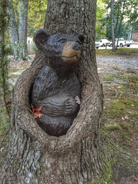 This sculpted bear blended in well with the scenery.