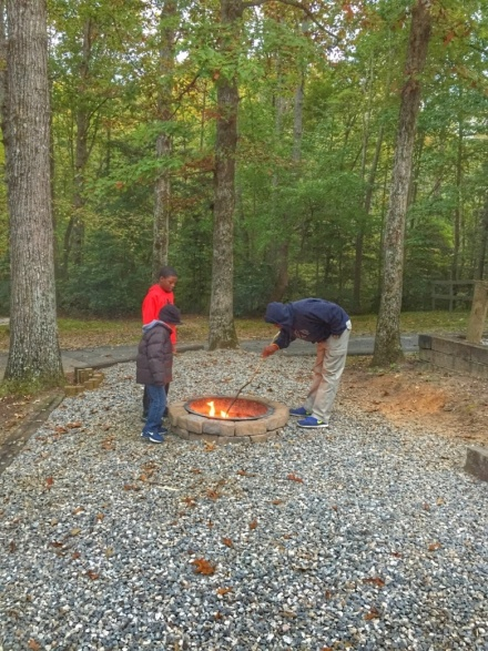 Outside of our cabin, we enjoyed a nature walk and making s'mores on an open fire.