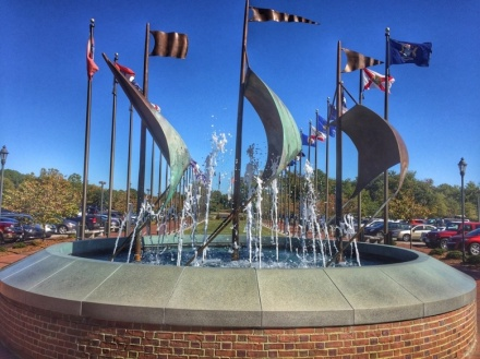 A water fountain sculpture outside the Jamestown Settlement Visitors Center