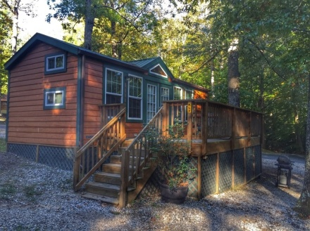 A deluxe cabin in the woods is one of many ways you can go camping.